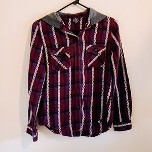 Empyre Hooded Aztec Button Down